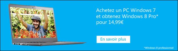 bon reduction coupon promotionnel migration Windows 7 vers 8 pour 15 euros