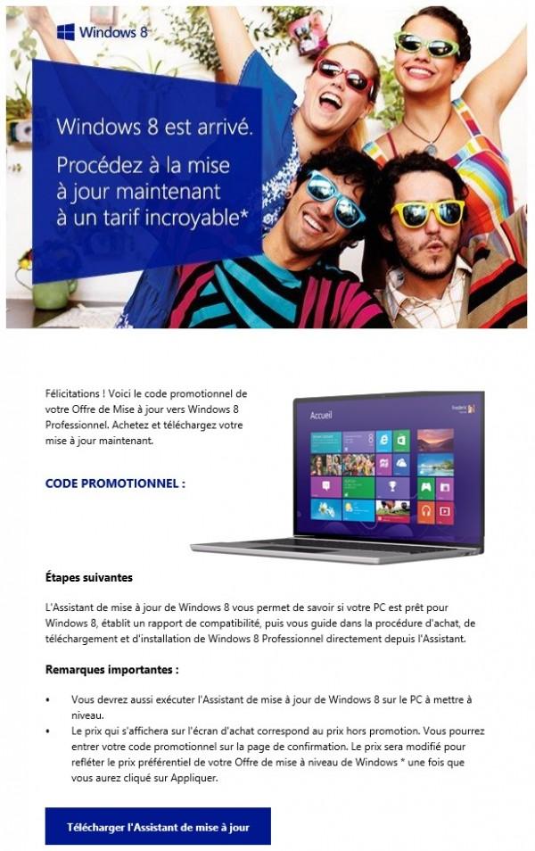 email de mise à jour vers Windows 8