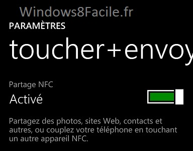 Windows Phone NFC actif