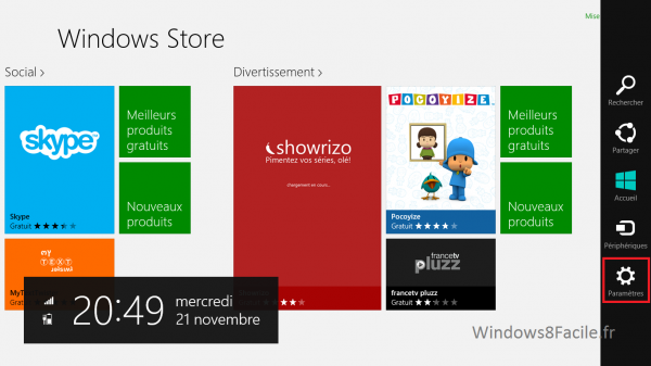 Windows Store Paramètre 1
