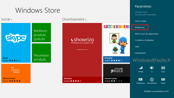 Windows Store Paramètre 2
