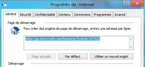 IE10 page accueil demarrage par defaut Internet Explorer 10