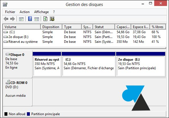 partition disque W8F