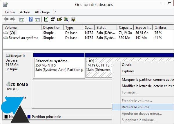 gestionnaire partition disque dur Windows 8