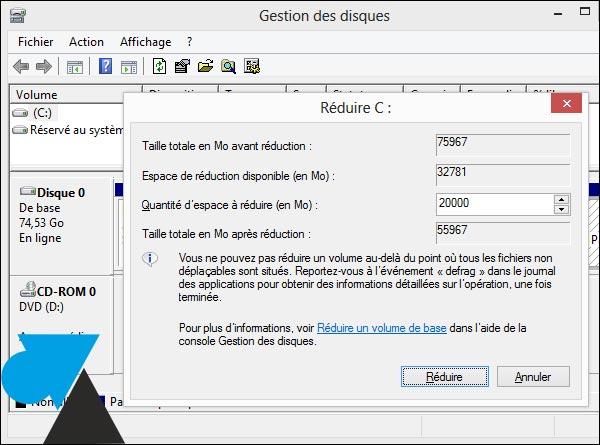 Windows 8 partition disque quantite espace reduire Mo Go