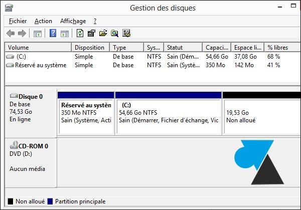 partition disque non alloue