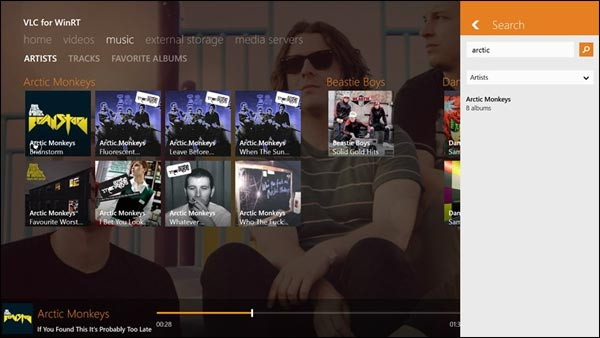 VLC pour Windows 8 application Windows Store