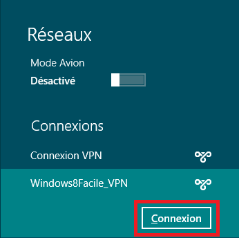 Windows 8 VPN connexion