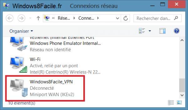 Windows 8 Connexions réseaux