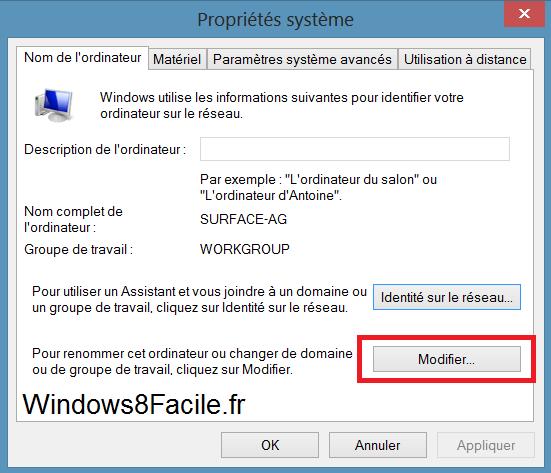 Windows 8 RT Propriétés Système