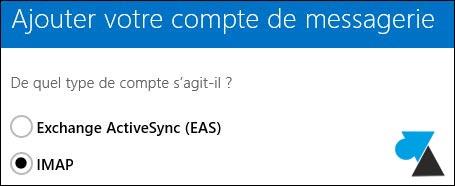 Windows 8 8.1 Courrier IMAP