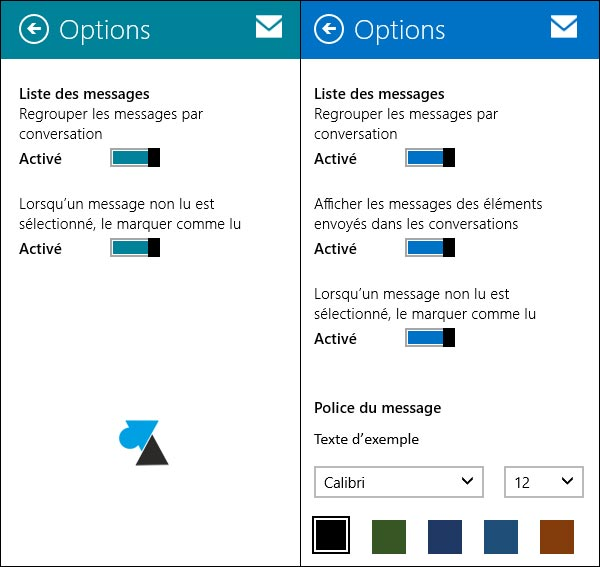 options Courrier Windows 8 8.1