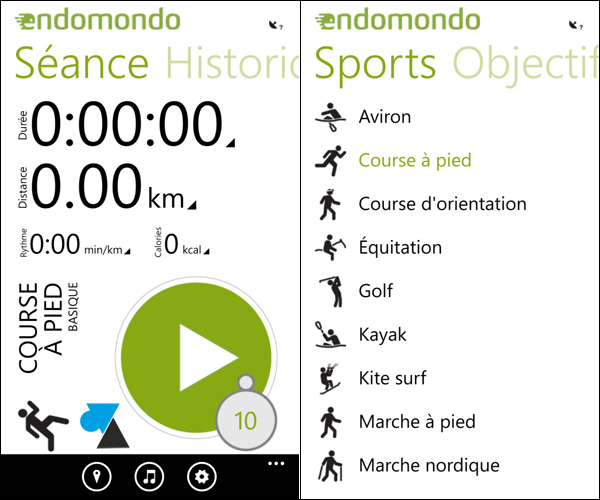 application Endomondo sportif WP8