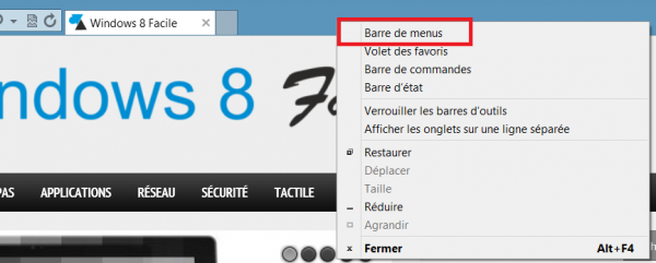 IE10 afficher menu contextuel