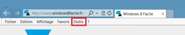 IE10 afficher menu outils