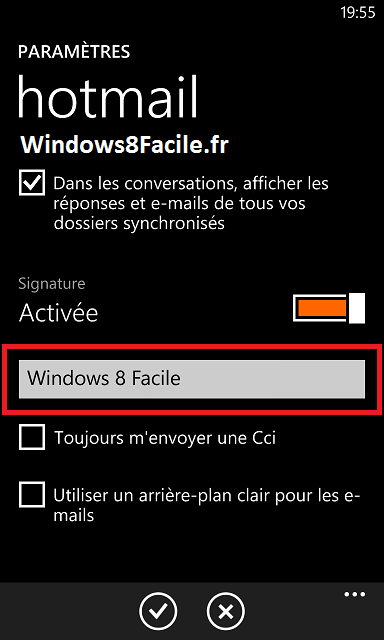 Windows Phone 8 e-mail signature, modifier