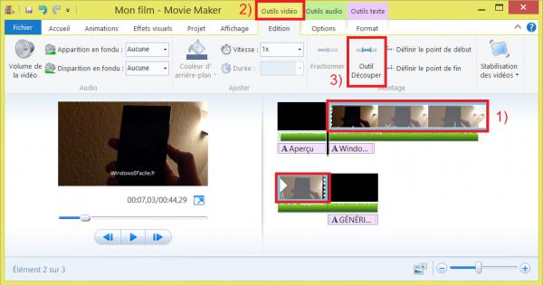 Movie Maker découpage vidéo