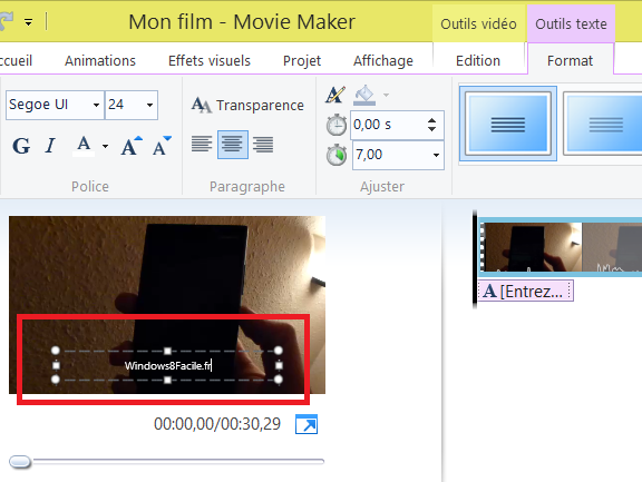 Movie maker modification légende