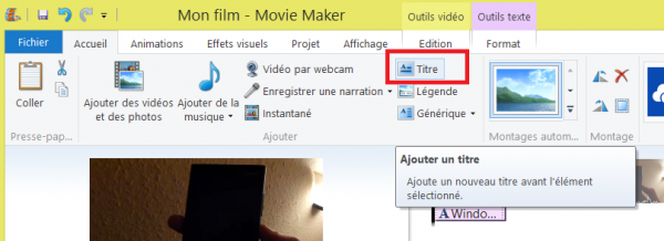Movie Maker ajouter titre
