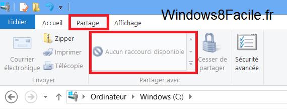 Windows 8 RT Surface partage désactivé