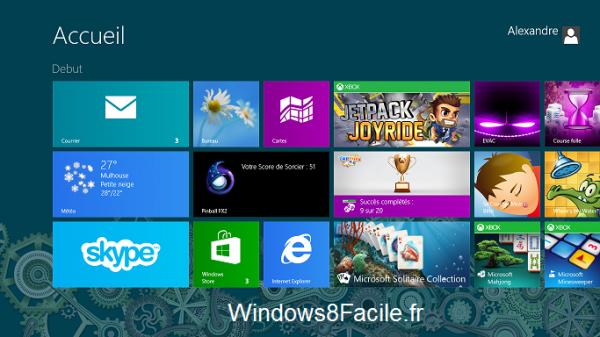 Ecran de démarrage Windows 8