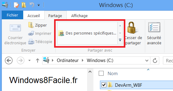 Windows 8 RT partage dossier