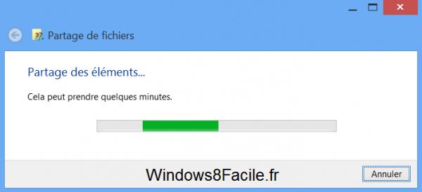 Windows 8 RT Surface partage étapes progression