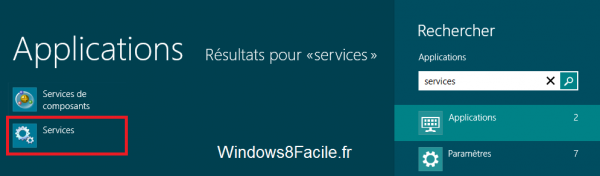Windows 8 Rechercher Services 2