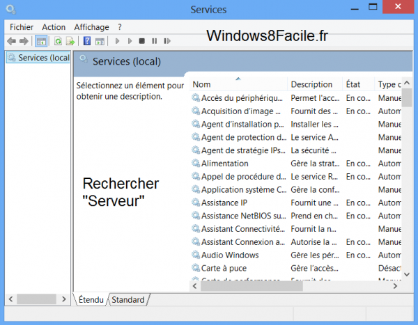 Windows 8 Service Serveur