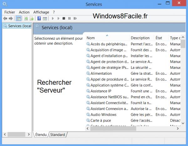 Windows 8 Service Serveur