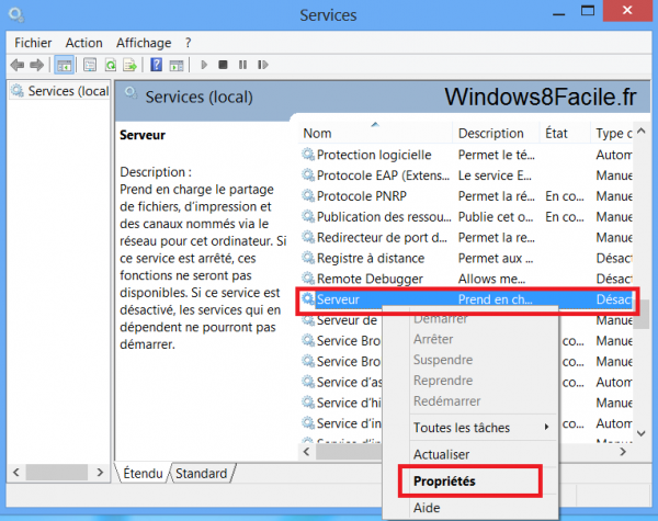 Windows 8 Service Serveur Clic droit