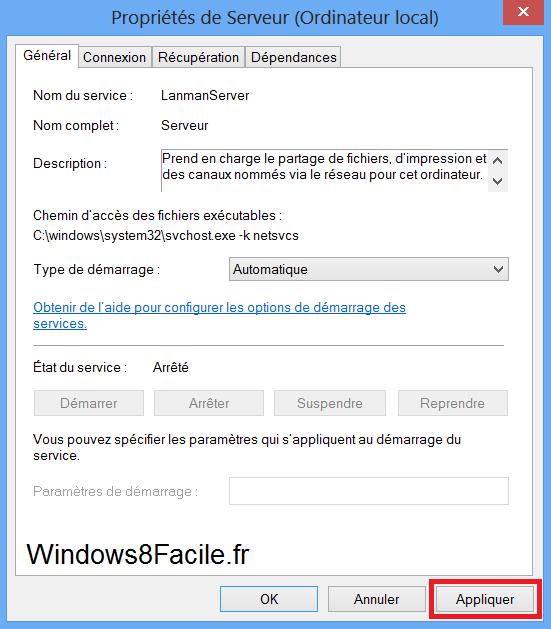 Windows 8 propriété service serveur automatique valider