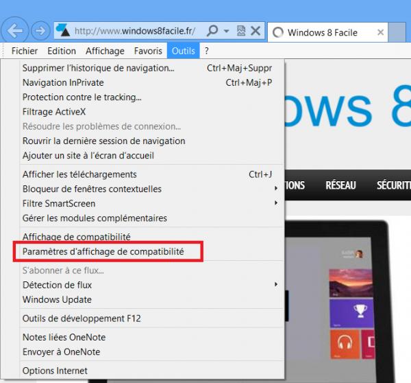 IE10 désactiver mise à jour automatiques fichier compatibilité flash option