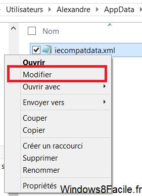 Modifier fichier compatibilité flash IE10