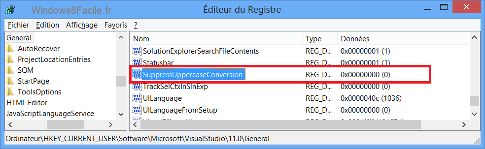 Visual Studio 2012 majuscule menu edition clé