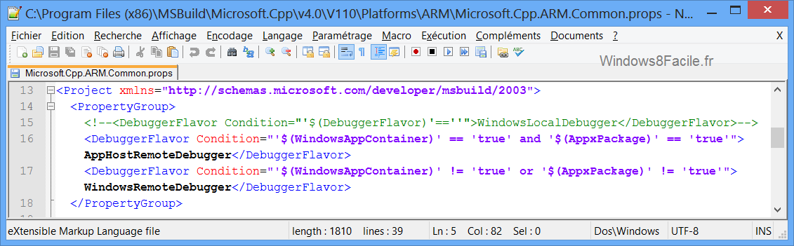 Visual Studio 2012 fichier à modifier