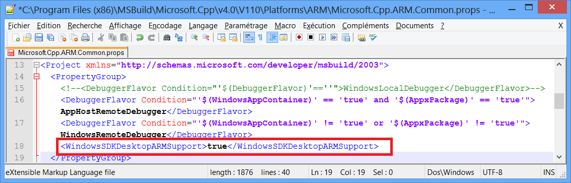 Visual Studio 2012 fichier modifié