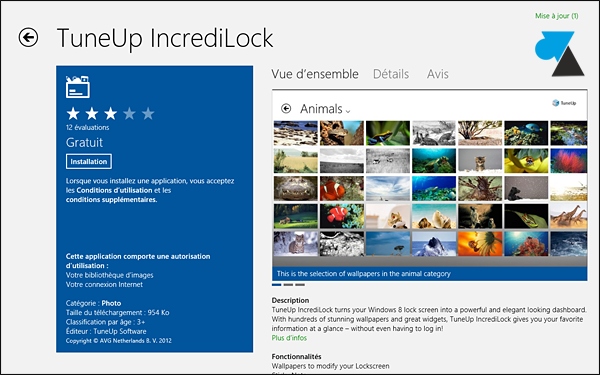 Windows 8 Store application Tuneup Incredilock telecharger gratuit