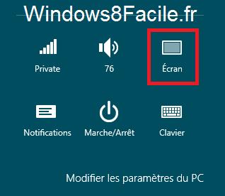 Windows 8 paramètres écran