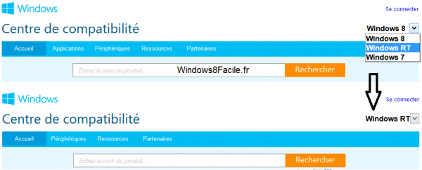 Windows 8 RT centre compatibilite