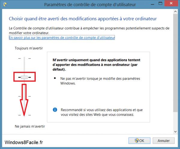 désactiver UAC Windows 8 niveau par défaut