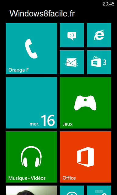 Windows Phone Accueil après fermeture
