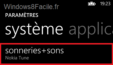 Windows Phone paramètres sonneries+sons