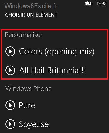 Windows Phone sélection sonnerie