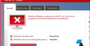 Microsoft Windows Defender logiciel antivirus desactive
