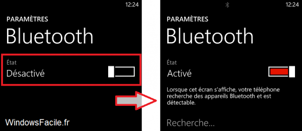 Windows Phone Activer le bluetooth