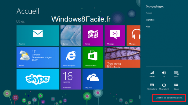 Windows 8 paramètres