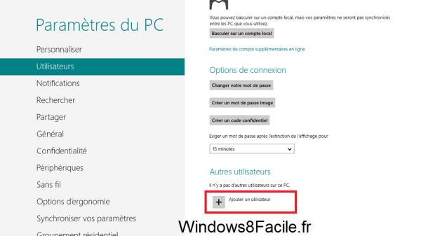 Windows 8 paramètres utilisateur