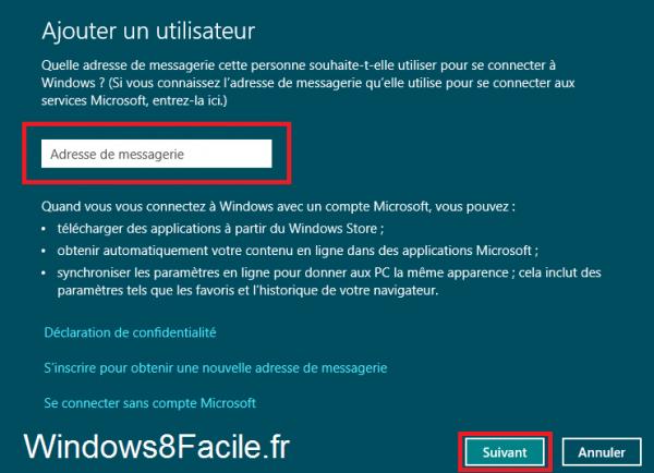 Windows 8 compte Microsoft