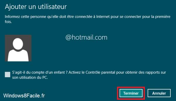 Windows 8 compte création terminé